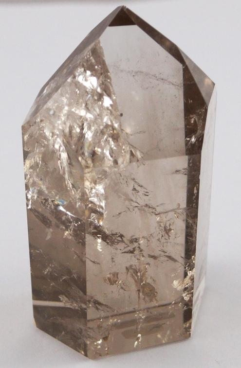 Rauchquarz Edelstein Kristall Spitze gebohrt