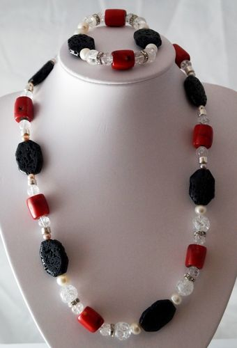 Necklace with bracelet of coral, lava, freshwater pearl and rock crystal